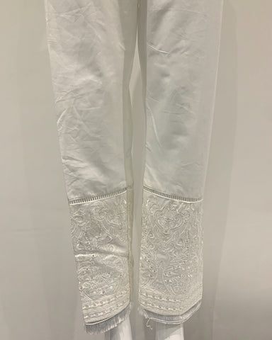 White Embroidered Tassle Trousers