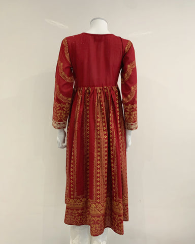 Deep Red Long Block Print Dress Kurta