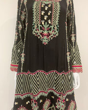 RAFIA Designer Black Fancy Mirror Dress Suit with Heavily Embroidered Pink Slight Hem Sharara
