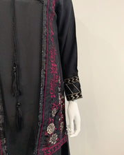 RAFIA Designer Black Jacket Contrast Embroidered Suit