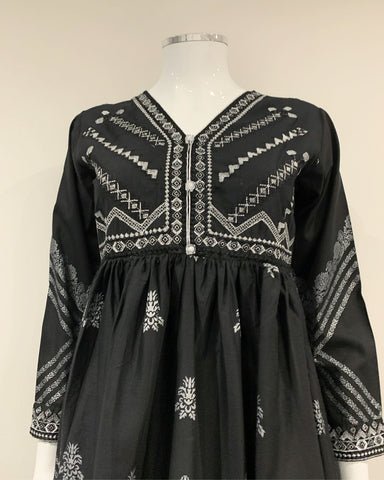 Black Long Printed Kurta