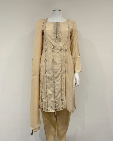 RAFIA Designer Cream Embroidered Suit