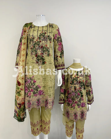 Ladies Moss Digital Lawn Suit