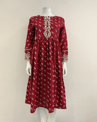 Red Cotton Printed Long Dress