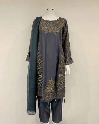 Grey Embroidered Block Print Flary Sleeve Suit
