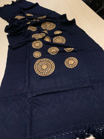 Wool Embroidered Shawl - Navy Blue