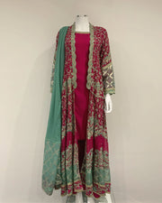 RAFIA KHAS Arshi PinkFancy Hand Detailed Jacket Suit with Sharara Trousers