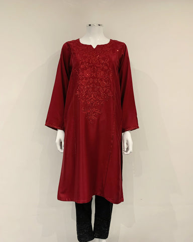 RAFIA Designer Red Fancy Jacquard Sequins Kameez Kurta