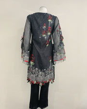 Black Ladies Designer Floral Digital Print Kameez Lawn Suit