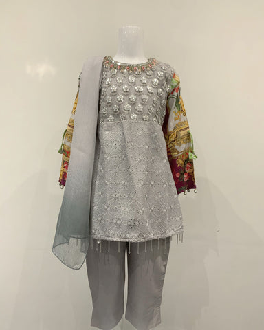 Grey Girls Designer Lawn Dress Hem Suit