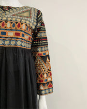 Black Full Embroidered Frock Kurta