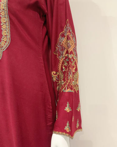 Clasico Elura Deep Red Embroidered Dress Suit