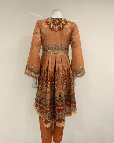 Burnt Orange Digital Print Dress Hem Suit