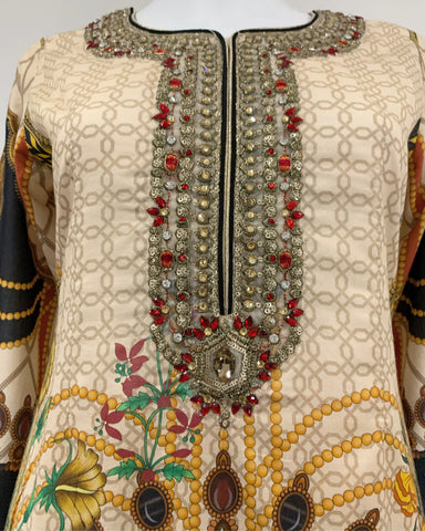 Gold Designer Printed Embezzled Lawn Suit