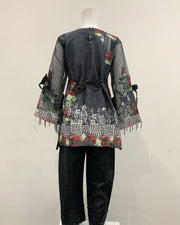 Black Girls Designer Floral Digital Print Kameez Lawn Suit