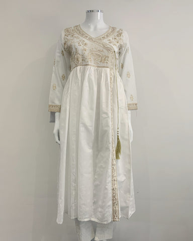 White Embroidered Cotton Dress Kurta