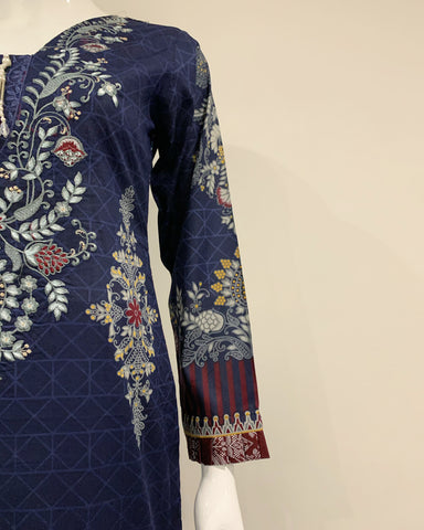 AS Blue Mirror Embroidered Lawn Suit