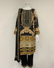 Black Luxury Linen Printed Kameez Suit