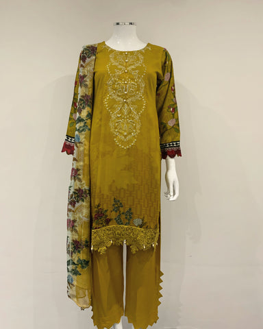 Mustard Embroidered Linen Suit