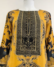 Mustard Luxury Printed Kurta