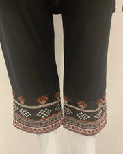 Black Embroidered Linen Suit