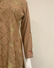 Brown Embroidered Linen Dress Suit