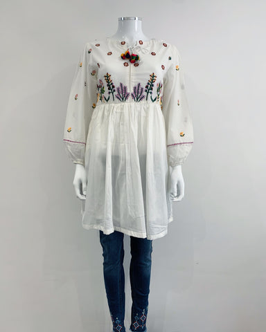 White Cotton Peplum Kurta with Embroidered Jeans 2 Pc