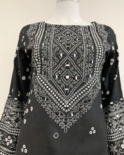 Black Long Lawn Mirror Kameez Kurta