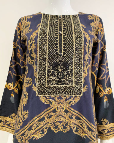 Navy Luxury Printed Kurta