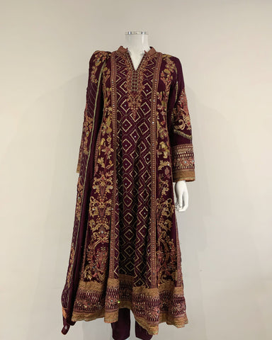 RAFIA Designer Maroon Embroidered Contrast Dress Suit
