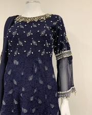 Navy Embellished Fancy Lace Belt Suit
