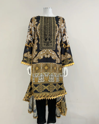 Black Luxury Printed Dipped Hem Kurta
