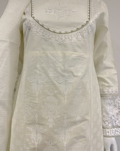 Cream Embroidered Dress Suit