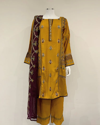 RAFIA Designer Mustard Mirror Embroidered Suit