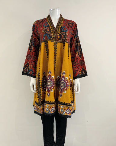 Mustard Heavy Embroidered Peplum Kurta