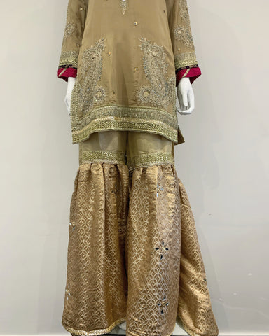 RAFIA Designer Gold Embroidered Hem Sharara Suit