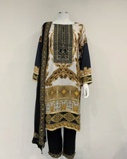 White Luxury Linen Printed Kameez Suit
