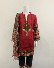 Deep Red Girls Designer Kameez Lawn Suit