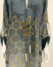 RAFIA Designer Grey Digital Print Hem Jacket Gown