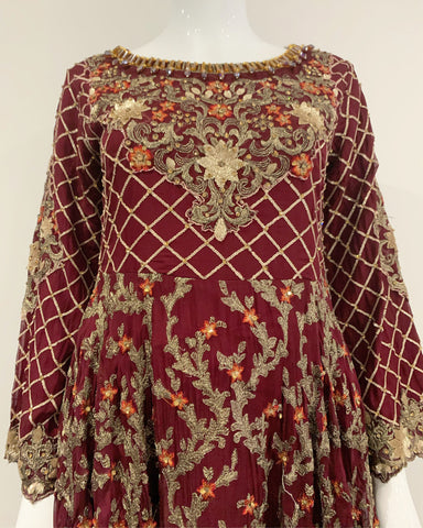 IVANA Maroon Embroidered Chiffon Ladies Long Dress
