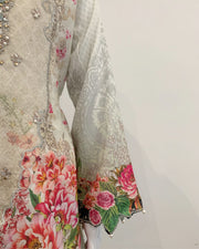 Off White Designer Girls Floral Lawn Kameez Suit