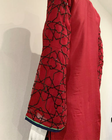 RAFIA Designer Red and Black Embroidered Suit