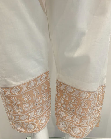 Peach Embroidered Cotton Suit
