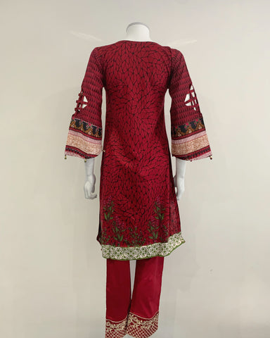 Red and Black Contrast Lawn Suit