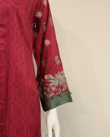 RAFIA Deep Red Floral Jacket Gown