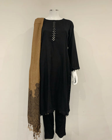 Black Marina Mirror Suit with Wool Shawl