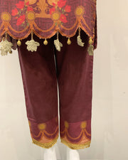 Rosewood Pink Embroidered Dhanak Kameez Suit