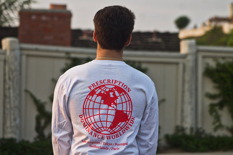 WORLDWIDE LONGSLEEVE ( RED PRINT ON WHITE )