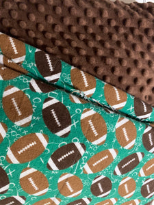 Football flannel with brown minky dot backing