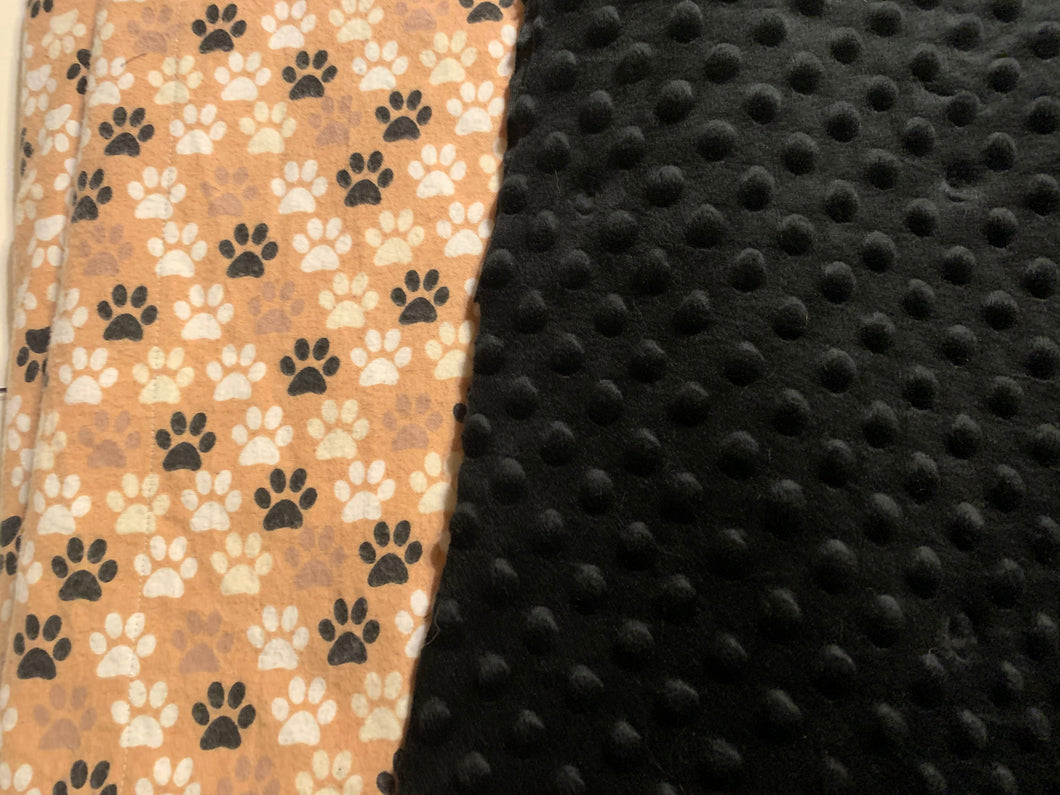 Paw Print Flannel with Black Minky Dot Backing